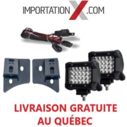 2 X BARRE DEL - LED 4'' 72W 7200L SPOT + KIT DE FILAGE + SUPPORT
