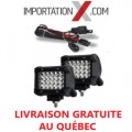 2 X BARRE DEL - LED 4'' 72W 7200L SPOT + KIT DE FILAGE