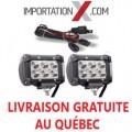 2 X BARRE DEL - LED 4'' 18W 1800L SPOT GRADE AA + KIT DE FILAGE