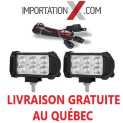 2 X BARRE DEL - LED 4'' MINI 18W 1800L SPOT + KIT DE FILAGE