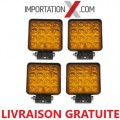 4 X DEL - LED CARRÉ 48W 4'' FLOOD AMBRE