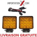 2 X DEL - LED CARRÉ 48W 4'' FLOOD AMBRE + KIT DE FILAGE
