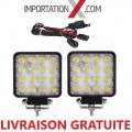 2 X DEL - LED CARRÉ 48W 4'' SPOT + KIT DE FILAGE