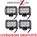 4 X BARRE DEL - LED 4'' 18W 1800L FLOOD GRADE AA