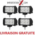 4 X BARRE DEL - LED 4'' MINI 18W 1800L SPOT