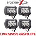 4 X BARRE DEL - LED 4'' 18W 1800L SPOT GRADE AA
