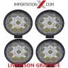 4 X DEL - LED RONDE 27W 4'' PLUS MINCE SPOT 2700 LUMENS