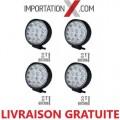 4 X DEL - LED RONDE 42W 4'' MINCE SPOT 4200 LUMENS