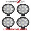 4 X DEL - LED RONDE 27W 100mmX85mmX20mm PLUS PETITE SPOT 1890 LUMENS