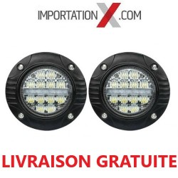 FOG ROND ENCASTRABLE 2 X 48W COMBO + CLIGNOTANT INTÉGRER GRADE AA