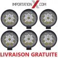 6 X DEL - LED RONDE 27W 4'' PLUS MINCE SPOT 2700 LUMENS