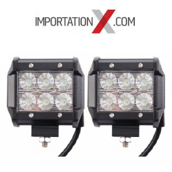 2 X BARRE DEL - LED 4'' 18W 1800L FLOOD GRADE AA