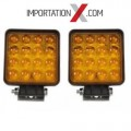 2 X DEL - LED CARRÉ 48W 4'' FLOOD AMBRE