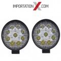 2 X DEL - LED RONDE 27W 4'' PLUS MINCE SPOT 2700 LUMENS
