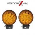2 X DEL - LED RONDE 4'' 42W SPOT JAUNE POUR LA BRUME
