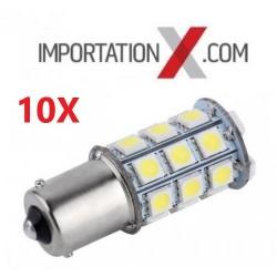 10 X BULBE DEL - LED #1156 BLANC 12V 21W 27SMD