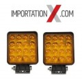 2 X DEL - LED CARRÉ 48W 4'' FLOOD AMBRE