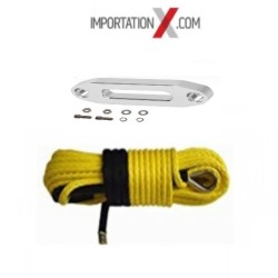 CABLE SYNTHÉTIC 6mm X 15M (1/4''X50') UHMWPE 7700 LBS  JAUNE + GUIDE CABLE